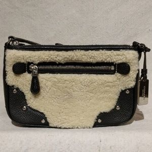 Coach Leather and Shearling Studded Crossbody EUC